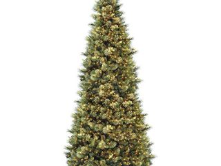 National Tree 12  Carolina Pine Slim Wrapped Tree with Flocked Cones   Clear lights