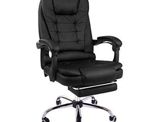 Halter Reclining leather Office Chair  Modern Executive Adjustable Rolling Swivel Chair  With Headrest and Retractable Footrest  Black