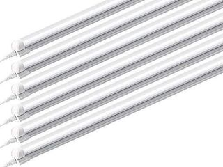 Barrina  Pack of 6  8ft led Tube light Fixture  44w  4500lm  6500K  Super Bright White  for Garage  Shop  Warehouse  Corded Electric with Built in ON Off Switch