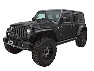 Bushwacker 10923 07 Black Flat Style Fender Flares for 2018 Jeep Wrangler Jl  Set of 4