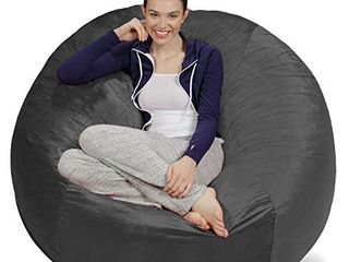 Sofa Sack   Plush Ultra Soft Bean Bags Chairs for Kids  Teens  Adults   Memory Foam Beanless Bag Chair with Microsuede Cover   Foam Filled Furniture for Dorm Room   Charcoal 5