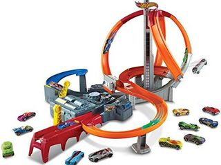 Hot Wheels Spin Storm Track Set Orange Track High Speed Multi lane loops Motorized Booster Ages 6 and Older