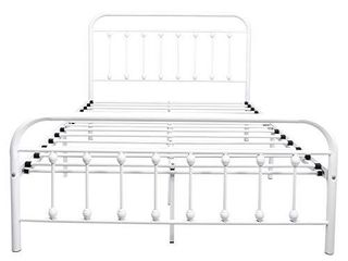 Metal Bed Full Platform Frame with Headboard and Footboard Mattress Foundation Heavy Duty Steel Slat Support Box Spring Replacement for Adult Beds White