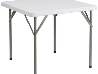 Flash Furniture Square Granite Plastic Folding Table  34 Inch  White