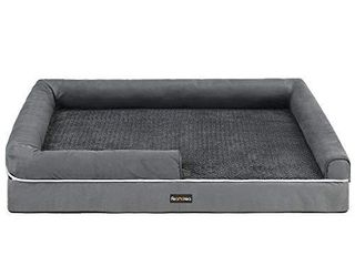 FEANDREA Dog Bed  Orthopedic Dog Sofa  Memory Foam Dog Mat  Removable Cover  Waterproof  Machine Washable  Anti Slip  Raised Edges  44 x 34 x 10 Inches  Dark Gray UPGW068G01   Not Inspected
