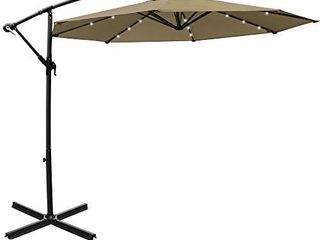 Mefo garden 10ft Solar Patio Outdoor Umbrella Offset Cantilever Hanging Umbrella 360 Degree Rotation with 24 lED lights and Heavy Duty Steel Cross Base  Top    Not Inspected