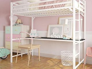 DHP Miles Metal Twin loft Bed with Desk  White