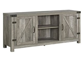 Walker Edison 58  Farmhouse Barndoor TV Stand in Gray Wash