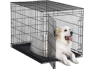 New World 48  Folding Metal Dog Crate  Includes leak Proof Plastic Tray  Dog Crate Measures 48l x 30W x 33H Inches  Fits Xl Dog Breeds