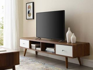 Transmit 70  Media Console Wood TV Stand in Walnut White