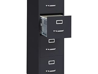 lorell 4 Drawer Vertical File with lock  15 by 25 by 52 Inch  Black DAMAGED