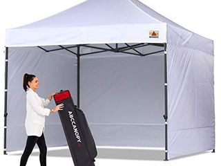 ABCCANOPY Canopy Tent Popup Canopy 10x10 Pop Up Canopies Commercial Tents Market stall with 6 Removable Sidewalls and Roller Bag Bonus 4 Weight Bags and 10ft Screen Netting and Half Wall  White