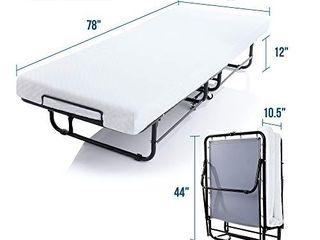 lUCID Rollaway Folding Guest Bed with 4 Inch Memory Foam Mattress   Rolling Cot   Easy Storage   Twin Xl