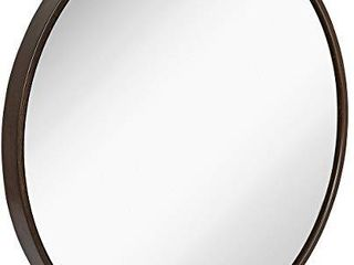 Hamilton Hills Clean large Modern Wenge 32  Wood Circle Frame Wall Mirror   Contemporary Premium Silver Backed Floating Round Glass Panel