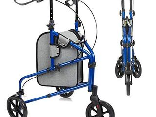 Vive Mobility 3 Wheel Rollator Walker   lightweight and Foldable for Seniors  Elderly  Men  Women   Folding Heavy Duty Tri Wheeled for Indoor Outdoor Use   All Terrain Walking Support with Bag  Blue