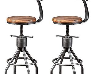 Set of 2 Vintage Bar Stool  Industrial Swivel Kitchen Dining Chair Counter Height 23 33 with Backrest
