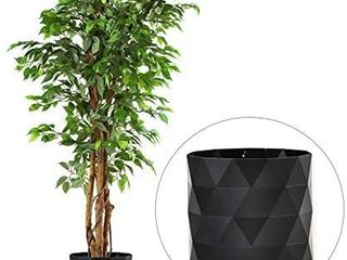 Deluxe 6 Ft Tall Ficus Silk leaf Artificial Tree 8  Base 12  Plant Pot Skit  DAMAGED  POT IS BROKEN