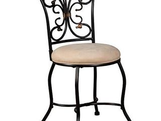 Hillsdale Furniture Sparta Vanity Stool  black with gold highlighted accents