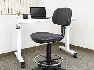 Office Star Sculptured Vinyl Seat and Back Pneumatic Drafting Chair with Adjustable Chrome Foot ring  Black