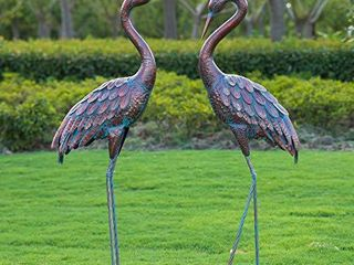 Kircust Garden Crane Statues Patina Heron Decoy  Standing Metal Crane Sculptures Bird Yard Art for Outdoor Decor  Set of 2