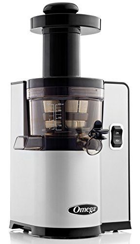 Omega VSJ843QS Vertical Slow Masticating Juicer Makes Continuous Fresh Fruit and Vegetable Juice at 43 Revolutions per Minute Features Compact Design Automatic Pulp Ejection  150 Watt  Silver  USED
