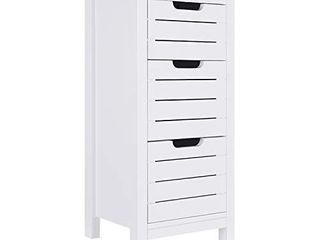 ChooChoo Bathroom Floor Cabinet  White Storage Cabinet with 3 Drawers