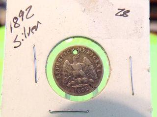 1892   10 CENTAVOS SIlVER COIN