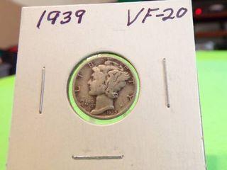 1939 MERCURY DIME VF20