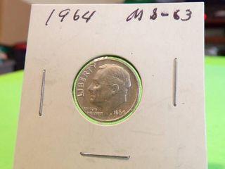 1964 ROOSEVElT DIME MS63