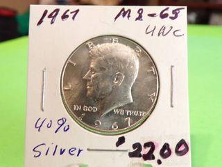 1967 KENNEDY HAlF   40  SIlVER MS65 UNC