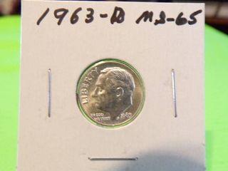 1963 D ROOSEVElT DIME MS65