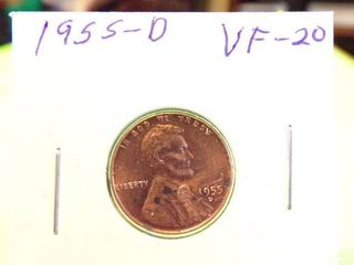 1955 D WHEAT PENNY VF20