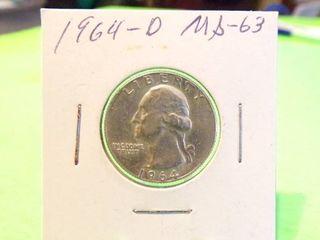 1964 D WASHINGTON QUARTER MS63