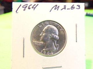 1964 WASHINGTON QUARTER MS63