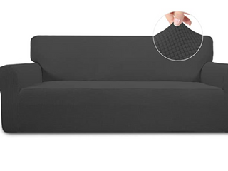 Easy Going Stretch Sofa Slipcover   Dark Grey  High Quality  Easy Care  Anti Slip Foams to Make the Fabric More Tight Elastic Bottom to Give a Whole Protection Machine Washable  Stretch