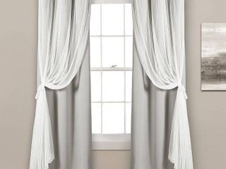 lush Decor Grommet Sheer Panels with Insulated Blackout lining light Gray Set 38X84