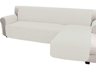 Easy GongvChaise Reversible Sofa Cover High Quality Easy care Ant Slip Foams to Make the Fabric More Tight Water Resistant Machine Washable  White