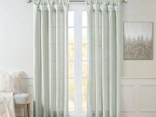 84 x50  lillian Twisted Tab lined light Filtering Curtain Panel   Set of 2 light Blue