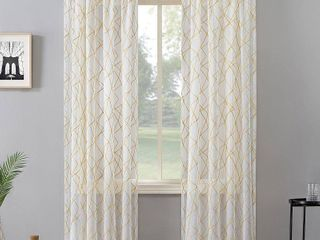 84 x50  Abstract Geometric Embroidery light Filtering Rod Pocket Curtain Panel Gold   No  918  Set of Two