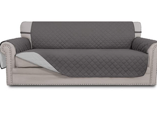 Easy Going Sofa Reversible Sofa Cover High Quality Easy Care Anti Slip Foams to Prevent Sliding Elastic Staps to Stay in Place Better Machine Washable  Grey
