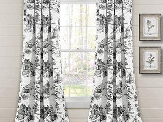 Set of 2  84 x52  French Country Toile Room Darkening Window Curtain Panels White Dark Gray   lush Decor