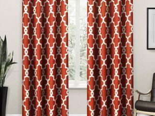 108 x52  Ironwork Sateen Woven Room Darkening Window Curtain Panel Pair Mecca Orange   Exclusive Home Set of 2