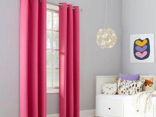 84 x40  Riley Kids  Bedroom Blackout Grommet Top Curtain Panel Pink   Sun Zero Set of Two