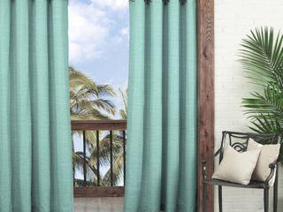 Set of 2  84 x52  Key largo Indoor Outdoor Curtain Panels Aqua   Waverly Sun N Shade