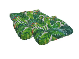 Green Indoor  Outdoor Tropical leaves Seat Cushions  Set of 2
