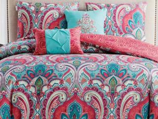 VCNY King Reversible Comforter Set 5Pieces Multi Colors