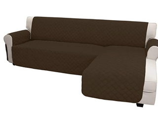 Easy Going Chaise Reversible Sofa Cover  High Quality  Easy Care  Anti Slip Foams to Make the Fabric More Tight  Water Resistant  Machine Washable  Brown