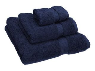 Superior 900 Gram Egyptian Cotton 3 Piece Towel Set  Navy Blue