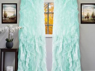 Sheer Voile Vertical Ruffled Window Curtain Panel 50 X 84 84 X 50 Inch Sea 2pcs