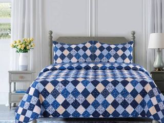 King 3pc Olivia Reversible Quilt Set   Country living